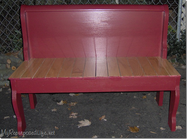 repurposed foot board into bench