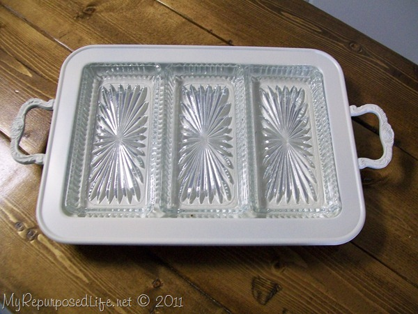 silver tray painted white