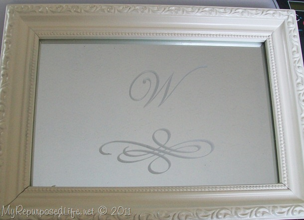 frosted monogram mirrored vanity tray