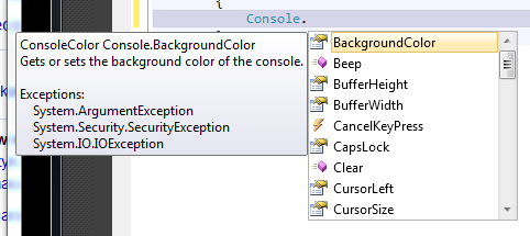 Console Color Visual Studio 2010