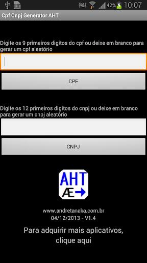 Cpf CNPJ Generator AHT FULL