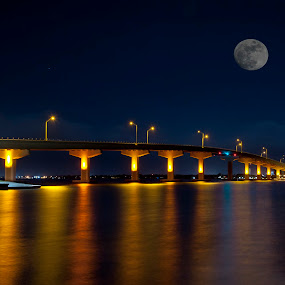 Bridge lights by Keith Reling - Landscapes Starscapes ( moon, reflection, night, bridge,  )