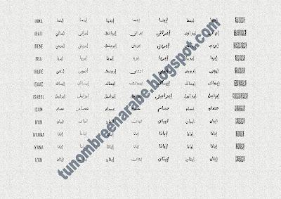 Los nombres de INMA,  IRATI,  IRENE,  IRIA,  IRUPÉ,  ISAAC,  ISABEL,  ISAM,  IVAN,  IVANNA,  IYANA,  IZAN escritos en árabe
