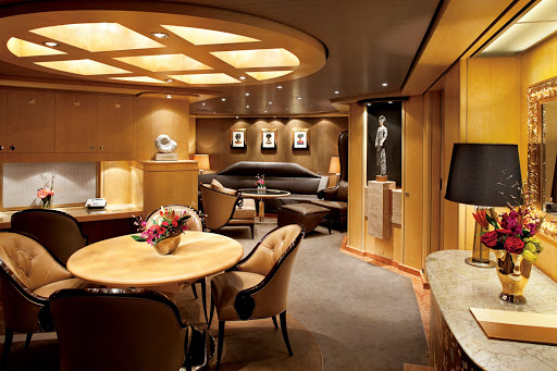 Holland-America-Signature-Class-Pinnacle-Suite - A look at the Pinnacle Suite, also known as the Penthouse Suite, aboard Nieuw Amsterdam. Enjoy the extra room to spread out, a private veranda and a host of complimentary services.