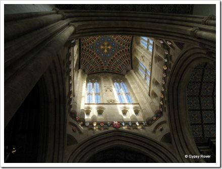 Looking up the Millenium Tower of St Edmundsbury Cathedral completed in 2005. The ceiling was completed in 2010.