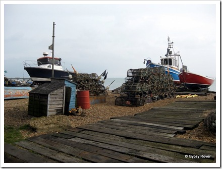Fishing boats and Crab pots adorn Deal beach.