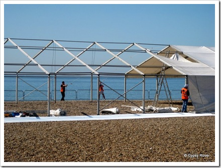Marquee preparartion for the Brighton marathon.