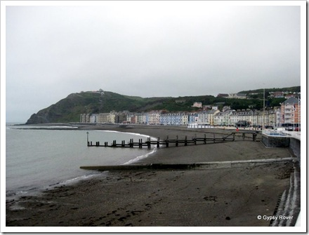 Aberystwyth holiday sea front on a chilly May morning.