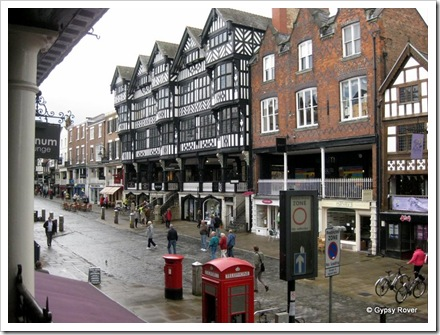 Covered shopping walkways in Chester.