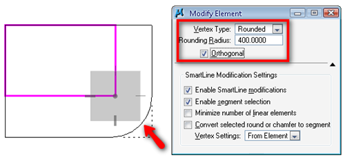 MicroStation_Modify_Tool__Corner_to_Rounded