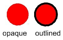 opaque vs outlined