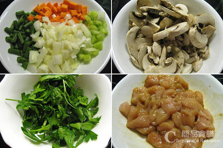 Chicken and Mushroom Pie Ingredients
