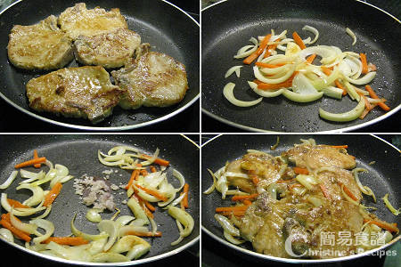 喼汁豬扒製作圖 Pan-fried Pork Chops in Worcestershire sauce Procedures