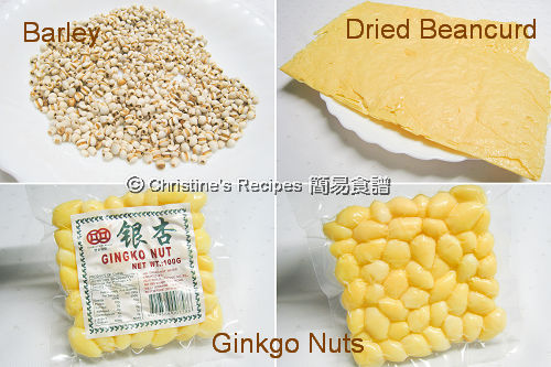 Dried Beancurd and Ginkgo Nuts Dessert Ingredients