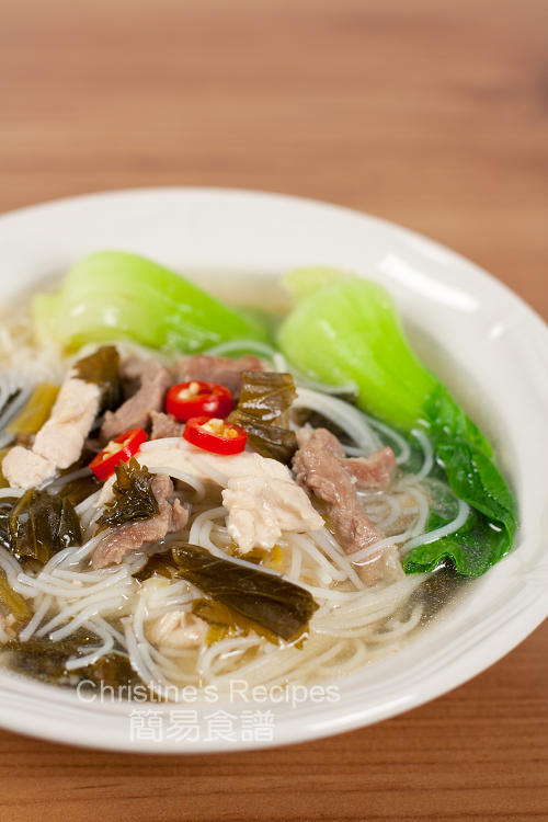 Shredded pork with Salted Vegetables Rice Noodle Soupt01