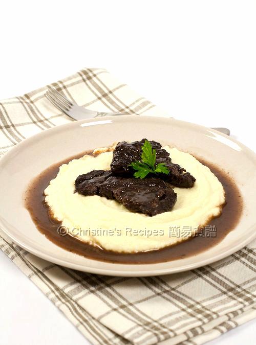 Braised Beef Cheek in Pedro Ximenez on Cauliflower Puree