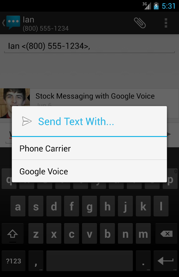 Google Voice Messaging - screenshot