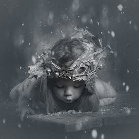 snow fairy by ILOVE Photography - Black & White Portraits & People ( black and white, b&w, child, portrait )
