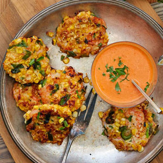 Shrimp Corn Fritters with Red Pepper Sauce.