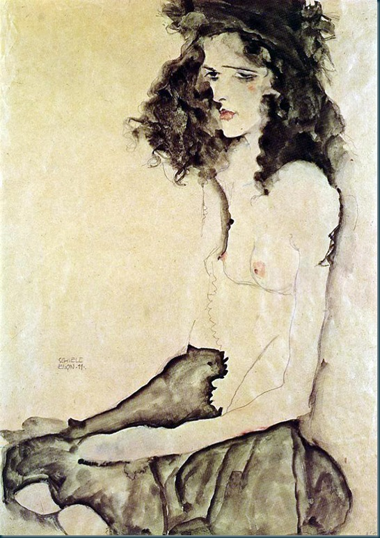Schiele - girl in black - 1911