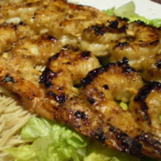 Grilled Asian Shrimp With Tamari Salad And Shrimp Noodles.