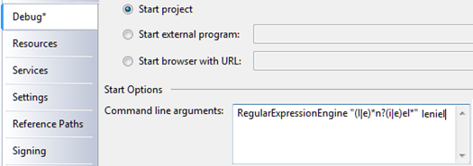 Regex Expression Engine Debug Properties Page