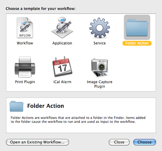 Types of templates available to create an Automator workflow (Folder Action)