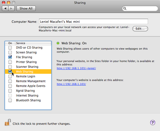 Web Sharing option under the Sharing configuration in System Preferences