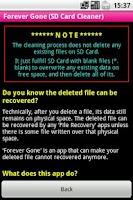 Screenshot of Forever Gone (SD Card Cleaner)