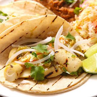 Grilled Marinated Heart of Palm Tacos With Spicy Cabbage Slaw (vegan).