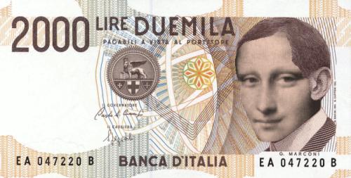 La vecchia 2000 lire con l'immagine di Monnalisa