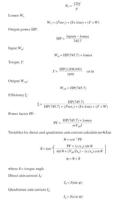 PERFORMANCE CALCULATION AND ANALYSIS (Electric Motors)