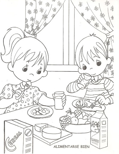 為孩子們的著色頁: Kids eating healthy, free coloring pages