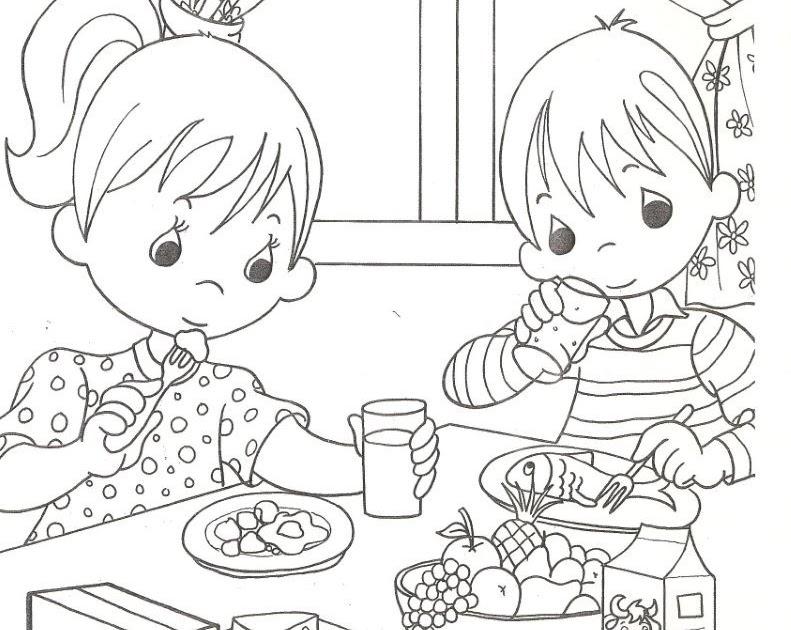 Dibujos Para Colorear Ninos Comiendo: Pinto Dibujos: Niños Comiendo Saludablemente Para Colorear