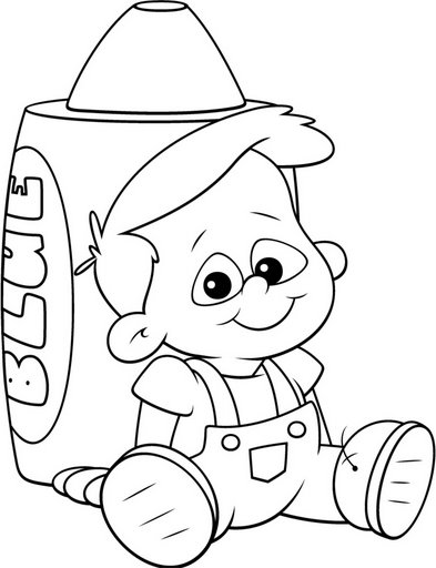 crayola action coloring pages | Niño y crayola para colorear