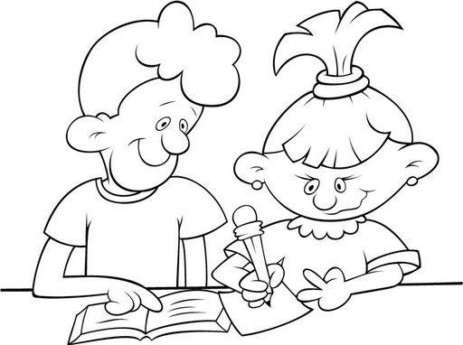 Imagen De Niño Leyendo Para Colorear: Pinto Dibujos: Escribiendo Para Colorear