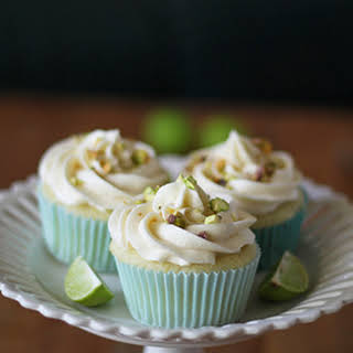 Key Lime Cupcakes with White Chocolate Frosting and Salted Pistachios.