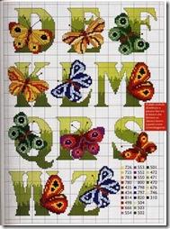 Abecedario mariposas en punto de cruz
