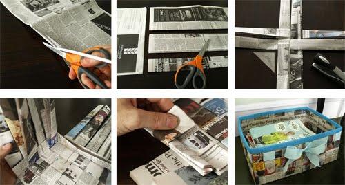 como hacer manualidad con papel periodico