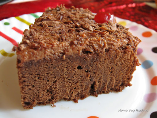 Eggless Chocolate Cake - Cake Baked in Microwave