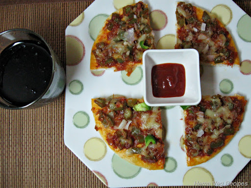 Vegetarian Pizza With Sauce and Coke