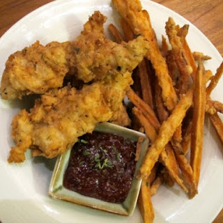 Buttermilk-Thyme Chicken Tenders with Cranberry Mustard and Sweet Potato Fries