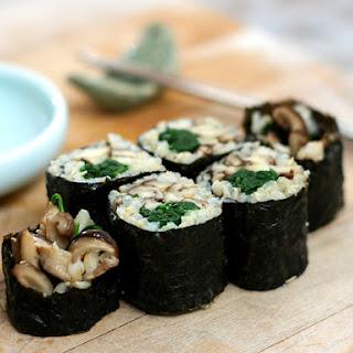 Shiitake Mushroom and Spinach Sushi Rolls
