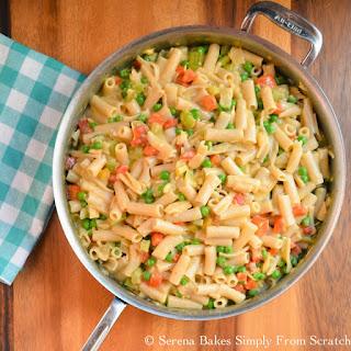 Gluten Free Creamy Cheesy Tuna Noodle Skillet.