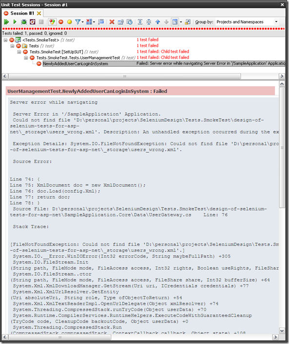Design of Selenium tests for ASP NET: Meaningful failure