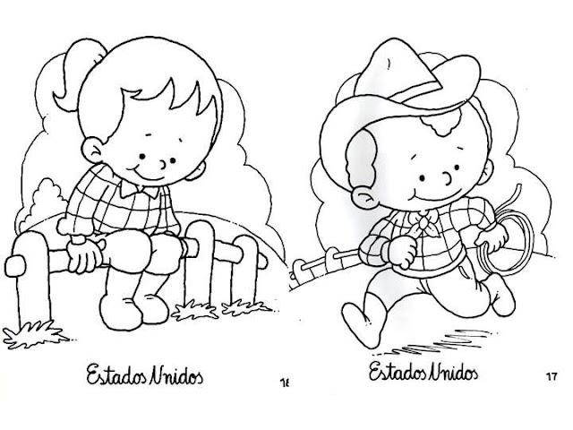 Dibujo De Nacionalidades Para Colorear: PINTAR NIÑOS DEL MUNDO