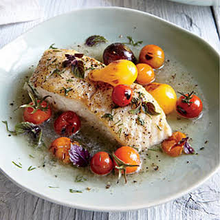 Halibut with Charred Tomatoes and Dill.