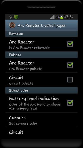 Arc Reactor Live Wallpaper Android App Screenshot