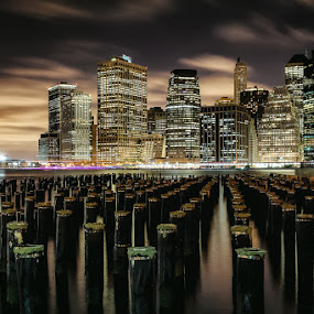 Lower Manhattan by Night by Kevin Case - City,  Street & Park  Skylines ( canon, kevin case, kevdia photography, canon photography, nyc photography, nyc, nightphotography, kevdia,  )