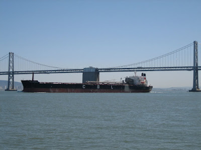 Container ship by the Bay Bridge in San Francisco, Califonia